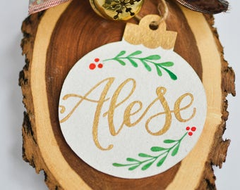 Customized Christmas Ornament - Custom Name Ornament - Calligraphy Name Decoration - Customizable Name