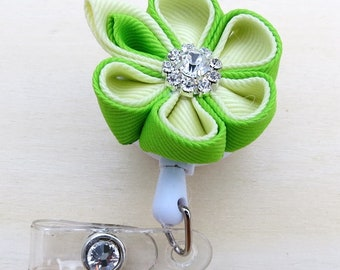 Retractable ID Badge Holder Ribbon Kanzashi Flower