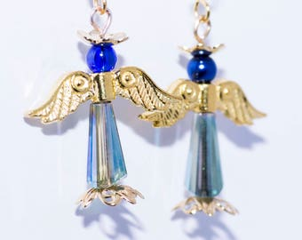 Blue and Gold Angel Earrings