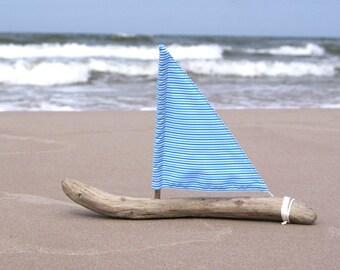 Driftwood Sailboat! Nautical Art Driftwood Art, Unique Boat Decor, Castaway Sailboat, Blue Decor, Beach Decor! Beautiful gift for Your Home!