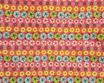 Vintage Vtg Quilting Cotton Fabric Pink with Circles, by the Fat Quarter, New