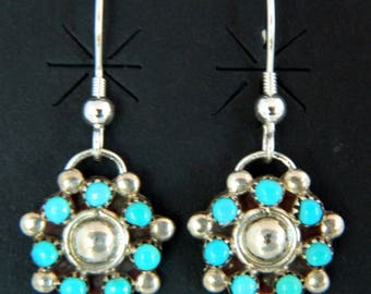 Native American Pawn Navajo Blue Turquoise Sterling Silver  Earrings
