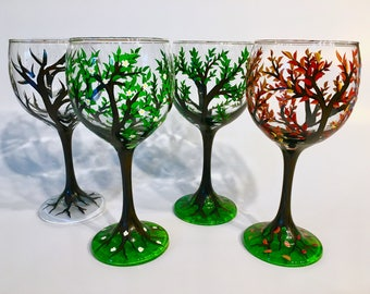 Four Seasons Trees Wine Glass Set