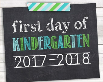 "Blue First Day of Kindergarten 2017-2018, Photo Prop, Blue and Green First Day School, 1st Day Kinder, Kindergarten Sign, 8""x10"""