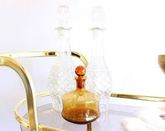 Vintage Decanter Pressed Glass Liquor Bottle w/ Lid Mid Century Barware Cocktail Boho Home Decor