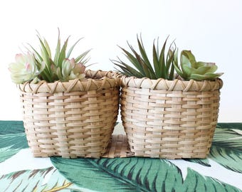 SALE Vintage Basket Planter Double Basket Woven Basket Pot Boho Home Decor