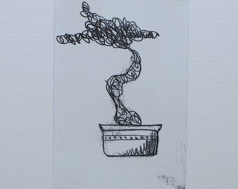 Bonsai Tree Monoprint A5