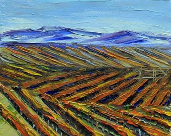 California Art, Napa, Vineyard Art, Landscape Painting, Vineyard Art, Napa Valley, California, Palette Knife, 8x10, San Francisco Bay Artist