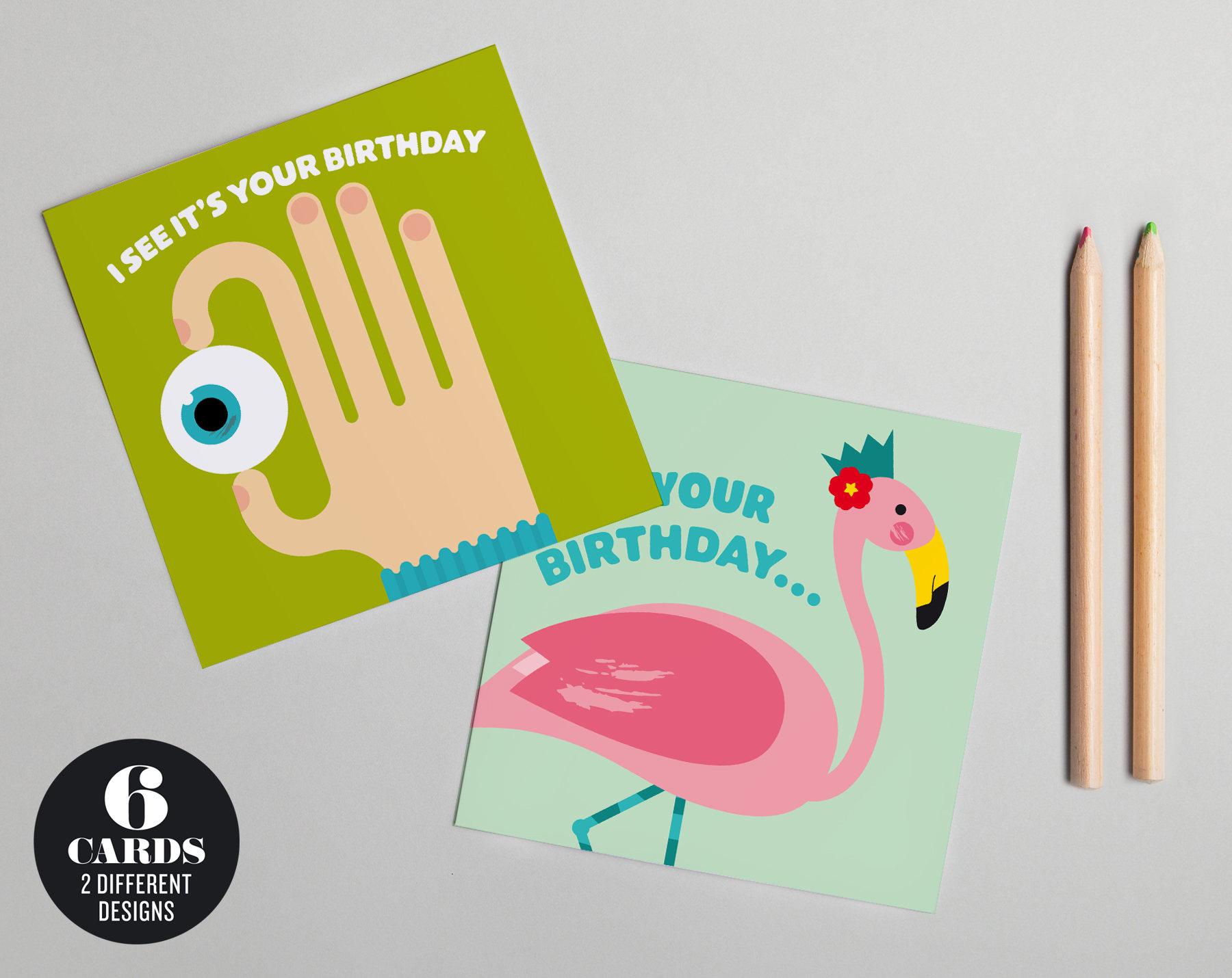 Eyeball and flamingo birthday card six card pack bookmarktalkfo Images