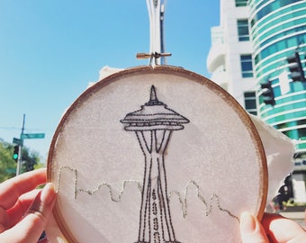 Seattle Space Needle Handmade Embroidery Hoop