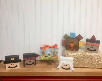 Thanksgiving Blockheads - Wooden Thanksgiving Decor, Wood Turkey, Thanksgiving Characters