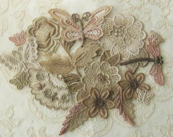 Hand Dyed Venice Lace Applique Combo Pack - Great for Crazy Quilting, Scrapbooking, Craft and Sewing Projects