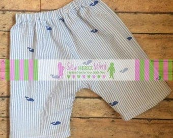 Newborn READY TO SHIP Nautical Whale Blue White Seersucker Pants