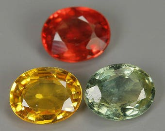 Natural Fancy Color loose Sapphire gemstones (3Pcs) 1.20 Ct
