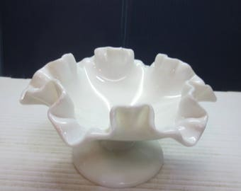 Small Fenton Milk Glass Footed Compote