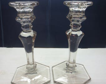 Vintage Pair Of Tall Clear Class Candle Holders