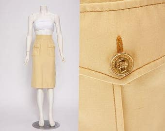 chanel yellow silk skirt vintage 1980s • Revival Vintage Boutique