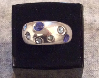 Vintage YSL Sterling Silver ring with Swarovski crystals