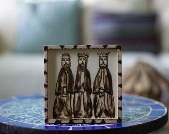 Wood burn The three Kings.  Los tres Reyes.  Navidad.  Christmas gifts.  Artesania de Puerto Rico.