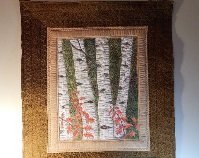 Featured listing image: Birch Tree art quilt