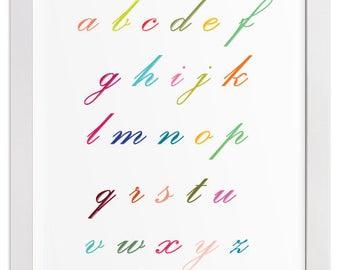 Lower Case Colorful Script Alphabet Art Print