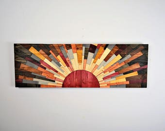 "Wood wall art - ""EDGE of THE DAY"" - wooden wall art, wood wall decor, wooden wall decor, modern wall art, sunset, sunrise, modern wood art"