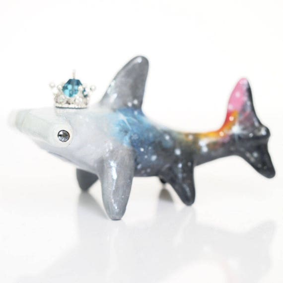 GALAXY SHARKS - Handmade Polymer Clay Sculpture With a Swarovski Crystal