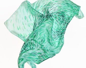 Small Silk Scarf- Mint scarf- Square silk scarf- Abstract silk scarf- Silk scarf- Silk scarf mint- Hand painted silk scarf- Women scarf