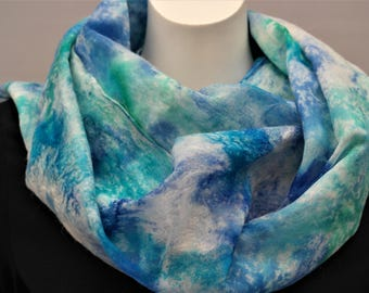 Nuno felted scarf for women. Aqua silk felted wool shawl, handmade.