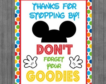 Mickey Mouse Birthday Sign, Multi Dot, Goodies