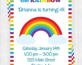 FLASH SALE Rainbow Birthday Invitation, Printable ,You Print , Digital File, Diy
