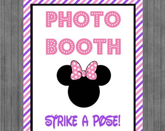FLASH SALE Minnie Mouse Birthday Sign, Photo Booth, pink and purple