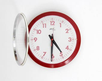 Vintage 80s Atlanta West Germany Wall Clock // 1970's Red and Gray Wall Clock