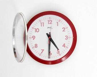 Vintage 80s Atlanta West Germany Wall Clock // 1970's Red and Gray Wall Clock