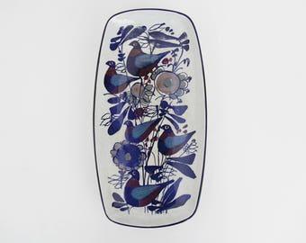Vintage 1960s Scandinavian Aluminia / Royal Copenhagen Ceramic Plater // Fajance Birds Dish Kari Christensen