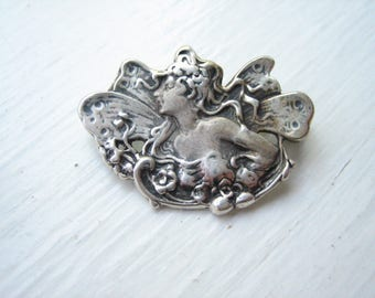 Vintage sterling silver fairy brooch, sterling silver fairy pendant, fairy brooch pendant, sterling silver faerie pendant brooch
