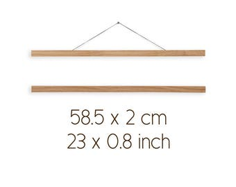 Wooden poster hanger WOODY, 58.5 x 2 cm / 23 x 0.8 inches