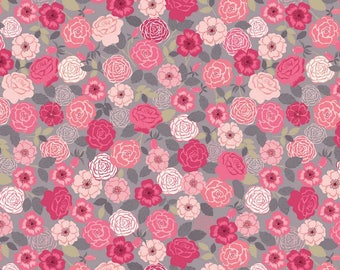 Wild Roses Pink, Lewis and Irene, quilting cotton, fabric by the yard, floral print, flower, wildflowers, bouquet, grandma's garden, Flo
