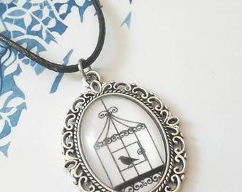 """""""Open cage birds"""" necklace adjustable Cabochon • •"""