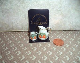 1:12 scale dollhouse miniature Reutter Porzellan Pitcher and cup