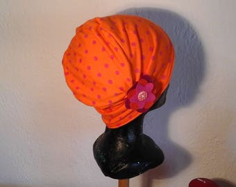 Child chemo hat with polka dots