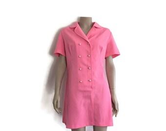 Pink retro crimplene dress / 60s hot pink dress / 60s go go dress / MOD dress / double breasted buttons dress / pink short dress groovy