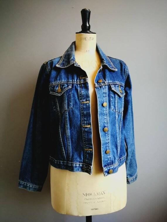 90s Denim Jacket / Original vintage women's denim jacket / non stretch denim / thick cotton Jean jacket / 90s mum / 90s grunge denim / UK 14