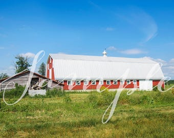 Digital Backdrop/Background - Photo Session - Summer Farm, Barns and Field
