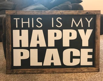 """20""""x20"""" This is my happy place farmhouse wooden sign"""