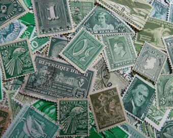 Green Stamps -  Lot of U.S. And Worldwide Postage Stamps for Art, Jewelry, Decoupage, Paper Crafts, Collage and More...