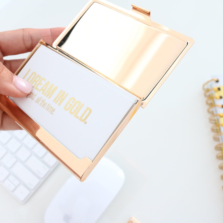 gold business card holder large gorgeous script pink