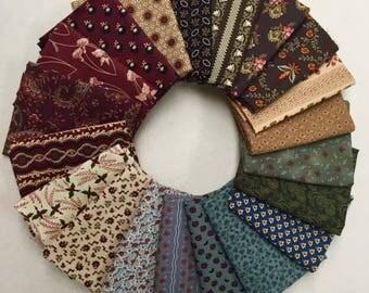20 Civil War Marcus RJR Windam Reproduction Quilt Fabric Fat Quarter Bundle