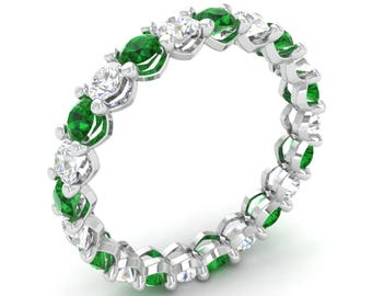 Eternity Emerald Anniversary Ring With Diamond In 14K White Gold   Natural AAA Emerald Anniversary Ring   Certified Emerald Wedding Ring