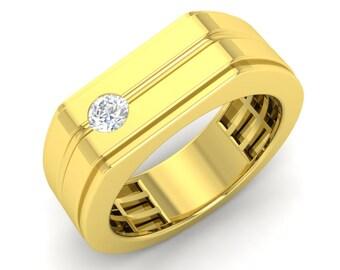 Mens Wedding Band Gold | Mens Diamond Gold Ring | Mens Gold Ring | Mens Anniversary Ring | Mens Diamond Wedding Ring | Mens Engagement Ring